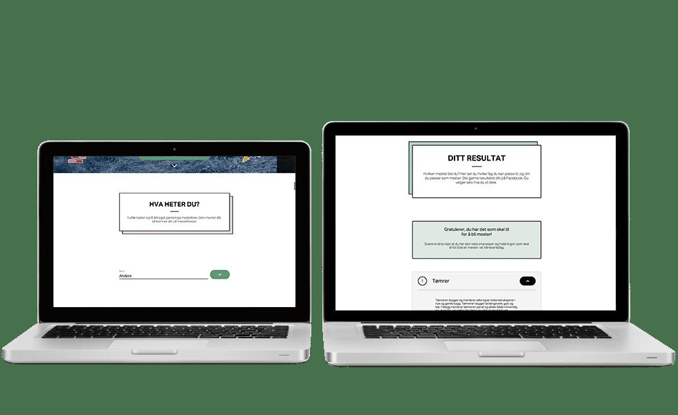 Mesterbrev Quiz – presentation on laptops